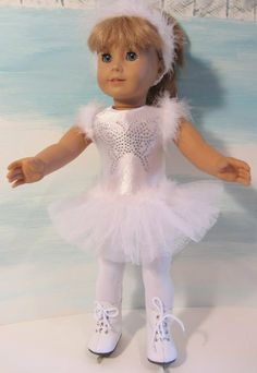 White Ice Skating Dress fits American Girl Doll or 18 Inch Doll WHITE SKATES INCLUDED with Butterly Sparkle Crystal Front & Feathers by The Wishlist Store Doll Clothes, http://www.amazon.com/dp/B00BMY9K86/ref=cm_sw_r_pi_dp_lSUHsb1N06ASZ