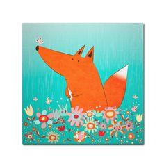 Carla Martell 'Fox in Flowers' Art (14x14 Wrapped Art)