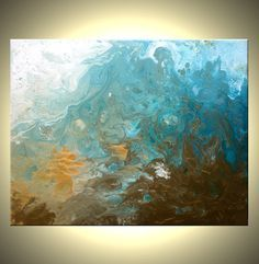 Original Teal Turquoise Blue and White Painting Drip by LFAStudios