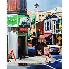 "From @nicolepowerart - ☀️ ""falafel, anyone?"" 40x30 2015. #halifax #art #fineart #urbanart #painting #acrylicpainting #streetscene…"