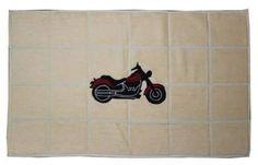 Patch Magic Motorcycle Bath Mat Vintage Motorcycle Cotton Bath