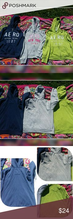 Bundle of 3 ~ AEROPOSTALE XLarge Hoodies 3 Aeropostale hoodies size XL!  A navy,  green,  and light grey wach with print on the front.  Great Classic hoodies,  super comfortable. In pretty good condition but have been well loved, some light pilling and the blue hoodie is missing the drawstring for the hood.  Jr's XL,  perfect fit for ladies side large!  *Thanks for stopping by, please check out my other items for more great deals and bundle discounts! :-) Please feel free to ask any…