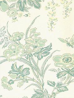 Muscat Wallpaper Aqua and beige floral design wallpaper