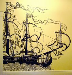 This wants to be on my possible library wall...// Pirate bedroom wall design!! Awesome