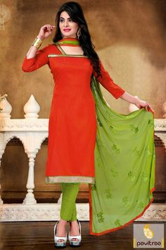 Step out for casual evening parties and family function by wearing awesome orange color casual salwar suits for office wear. Buy online new pattern salwar kameez with low price range . #salwarsuit, #casualdress more: http://www.pavitraa.in/store/casual-dress/