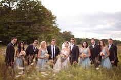 Door County Wedding | Farm Wedding | Woodwalk Gallery Wedding wedding party in a field, aqua bridesmaid dresses, field wedding pictures  Florals by Flora photo by m three studio photography
