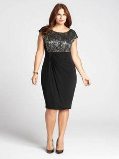Laura Plus | Metallic Lace Top Gathered Side Dress - Black Pattern