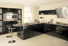 Bespoke kitchens @ home-improver.com  This kitchen is black high gloss throughout
