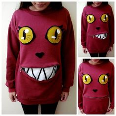 DIY Sweet to Creepy Smiling Cat Sweatshirt Tutorial from...