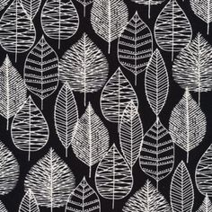 By HALF YARD Cloud 9 Bark & Branch LINE LEAF Black 1174H ORGANIC CANVAS Quilting Cotton Sewing Fabric Floral