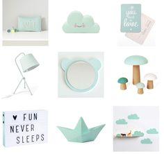 Le mint est encore la couleur incontournable en déco, elle apporte beaucoup de douceur à la chambre de bébé, voici quelques idées pour vous inspirer :