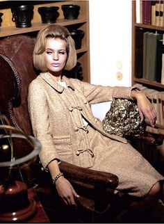 Veruschka photographed by Johnny Moncada, 1960-1966 vintage fashion style color photo print ad model magazine tan suit 60s