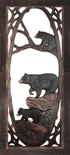 MAMA BEAR & CUBS CARVED SCREEN DOOR