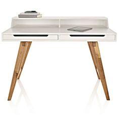 Sekretär, zwei Schubladen, schräge Beine, modern, Walnussbaumholz, MDF Vorderansicht