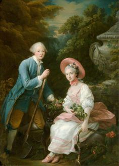 """The Prince and Princess Condé, Dressed as Gardeners"" (1757) by François-Hubert Drouais (1727-1775)."