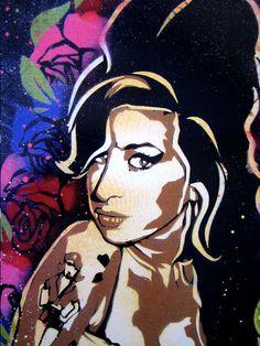 Amy Winehouse Stencil Art Print by taylorlindgrenart on Etsy, $20.00