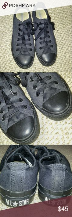 All Black · Low Top Converse Shoes Gently worn and has one little scar (pictured), otherwise in good condition. Converse Shoes Sneakers