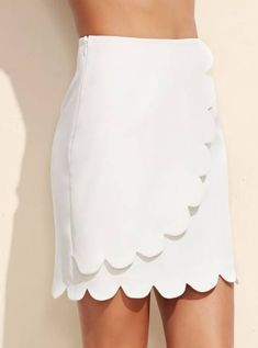 Size Available: XS,S,M,L Length(Cm): Hip Size(Cm): Waist Size(Cm): Fabric: Fabric has no stretch Season: Fall Pattern Type: Plain Silhouette: A Line Dresses Length: Above Knee/Short Color: White Material: Polyester Spandex Style: Cute Romper With Skirt, Dress Skirt, White Skirts, Mini Skirts, Women's Skirts, Costume Blanc, Scalloped Skirt, Skirt Patterns Sewing, Skirt Outfits