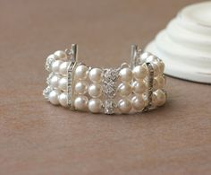 'Carmen' Pearl and Crystal Bracelet Multi strand by JamJewels1