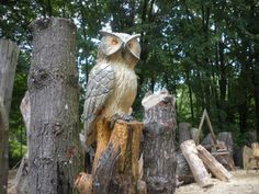 An owl on a stump - Carvings by Scott, a Michigan Chainsaw Carver