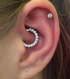 Simple Multiple Ear Piercing Ideas - Rook Crystal Clicker - Cartilage Piercing Stud at MyBodiArt.com