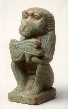 Baboon with a wedjat eye  Period: Late Period, Saite Dynasty: Dynasty 26 Date: 664–525 B.C. Geography: From Egypt Medium: Faience Dimensions: H. 4 cm (1 9/16 in)