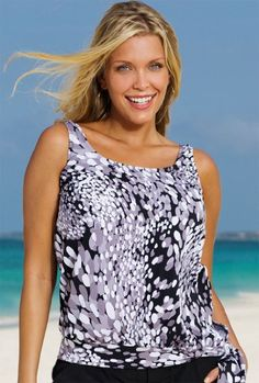 Beach Belle Dew Drops Plus Size Blouson Tankini Top Women's Swimwear – Black/White – Size:24 $42.00