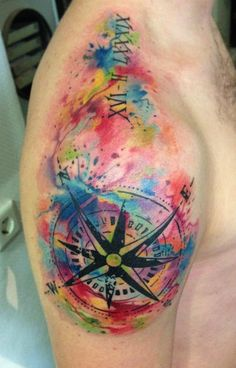 Watercolor compass on shoudle - 40 Awesome Compass Tattoo Designs
