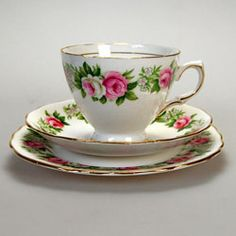Vintage Colclough Enchantment pattern teacup set including tea cup, saucer and side plate matching trio.