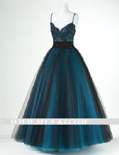 Spagheti strap A Line ball gown formal prom bridesmaid by MyaKi, $240.00
