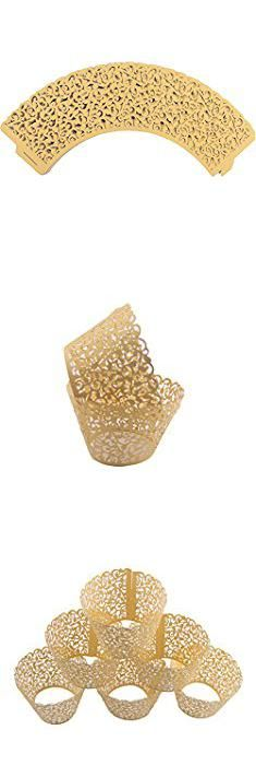 Gold Cupcakes Wrappers. Mydio Set of 50 Cupcake Wrappers Wedding Birthday Decorations, Gold.  #gold #cupcakes #wrappers #goldcupcakes #cupcakeswrappers