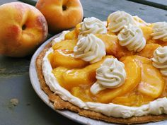 Ingredients : Peach Filling about 6 ripe peaches 3/4 cup sugar 3 tablespoons cornstarch 1/2 cup water Cream Filling 1 cup softened cream cheese (light or regular) 1/2 cup icing/powdered sugar 1 cup whipping cream 1 teaspoon vanilla 1 packet whipping cream stabilizer (Dr. Oetker) or
