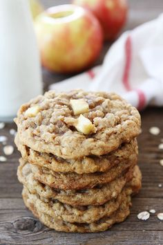 Peanut Butter Apple Oatmeal Cookies Recipe on twopeasandtheirpod.com These cookies will remind you of your favorite snack!  They are even better though!