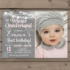 Winter ONEderland invitation Birthday party door Anietillustration