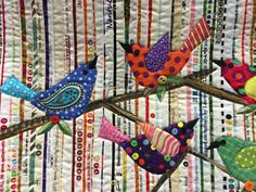 Turkey Tracks: Pine Tree Quilt Guild 2015 Show Patchwork Quilting, Scrappy Quilts, Mini Quilts, Crazy Quilting, Crazy Patchwork, Bird Applique, Applique Quilts, Wool Applique, Fabric Art