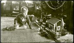 Vintage Christmas Photograph ~ Boy with Electric Train 1935