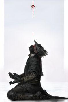 "dondondog:  ""  Dangling, upside-down rune etched in one's mind.  "" Bloodborne Art"