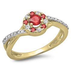 10K Yellow Gold Ruby & White Diamond Ladies Split Shank Bridal Halo Engagement Ring (Size 10). Other ring sizes may be shipped sooner. Most rings can be resized. Items is smaller than what appears in photo. Photo enlarged to show detail. Satisfaction Guaranteed. Return or exchange any order within 30 days. Color may varies from photo. All our diamonds are conflict free.