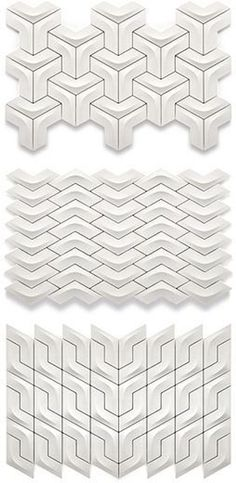 Award-Winning Ceramic Tiles from Kütahya Seramik Arc tiles. I've pinned these before, but this link goes to actual design info on the tiles rather than just a picture. 3d Tiles, Ceramic Wall Tiles, Tiling, Porcelain Ceramic, Tile Patterns, Textures Patterns, Fun Patterns, Tile Design, Pattern Design