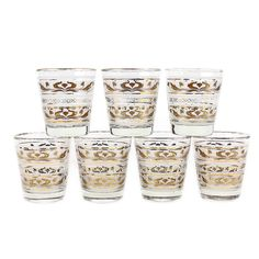 #Mid-Century Whiskey Glasses, Gold and Frosted Pattern, Dominion Glass