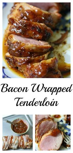 Bacon wrapped pork tenderloin has so much flavor and it's not greasy at all. Peach jam adds just a hint of sweetness to this amazing dish. Bacon Wrapped Pork Tenderloin, Cooking Pork Tenderloin, Pork Loin, Pork Brisket, Bbq Pork, Bacon And Butter, Supper Recipes, Appetizer Recipes, Bacon Recipes