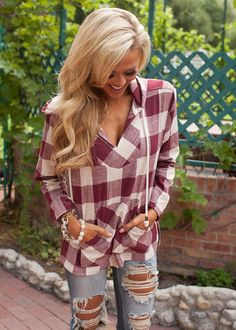 Wine Plaid Hoodie | You can find this at => http://feedproxy.google.com/~r/amazingoutfits/~3/0Et8X5ky47s/photo.php