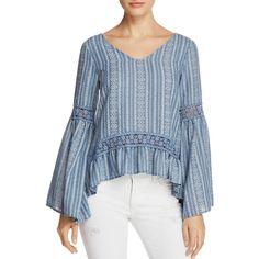 Vintage Havana Crochet Bell Sleeve Top ($73) ❤ liked on Polyvore featuring tops, denim, crochet tops, flared sleeve top, blue crochet top, bell sleeve tops and crochet bell sleeve top
