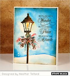 Winter Watercolor with Penny Black stamps... click through for supplies and instructions