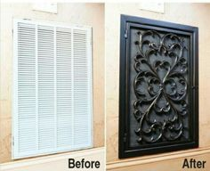 Replace vent cover with a spray painted outdoor rug.