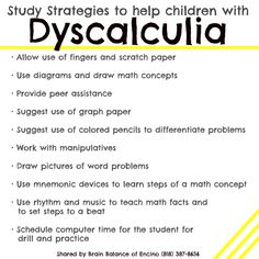 study strategies for dyscalculia