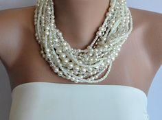 Handmade by Semra Ascioglu: Chunky Layered Ivory Pearl Necklace with Rhinestones by kirevi8