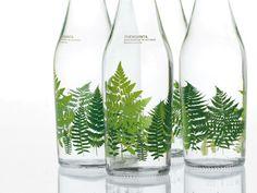 bottles with leaf motif