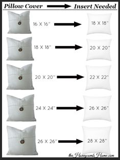 What size pillow insert you need for your pillow cover, decorative pillows covers design The Secret to Perfect Throw Pillows - The Honeycomb Home Diy Pillow Covers, Diy Pillows, Pillow Inserts, Decorative Pillows, Pillows On Bed, Sewing Throw Pillows, Pillow Ideas, Modern Throw Pillows, Decor Pillows