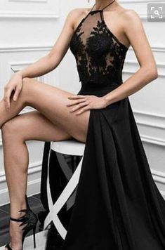 Lace Appliqued See-through Bodice Black Prom Dresses,Halter Formal